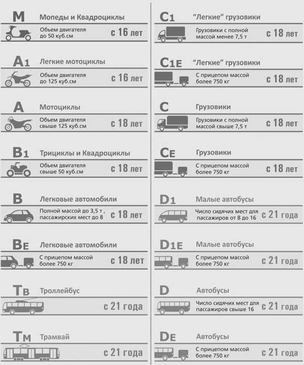 Таблица категорий водительских прав